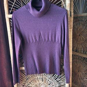 PARKHURST Turtleneck Sweater with Design Purple M